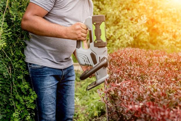 Um jardineiro aparando arbustos com aparador de cerca viva
