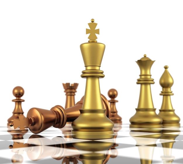 Um jogo de xadrez chega ao fim. o rei está em xeque-mate. renderização tridimensional