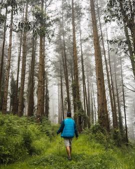 Um jovem caminhando com a jaqueta azul na floresta nebulosa