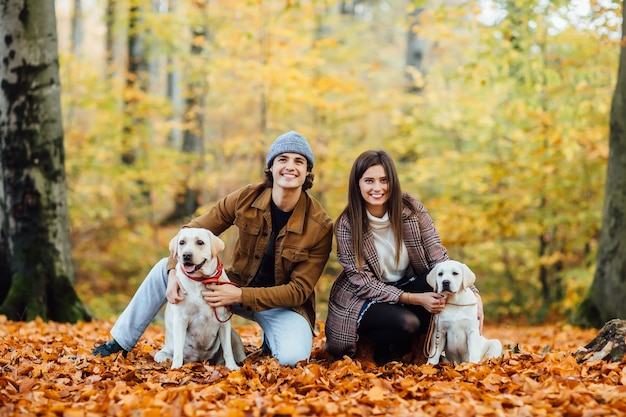 Um jovem casal e seus dois labradores dourados estão passeando no parque de outono