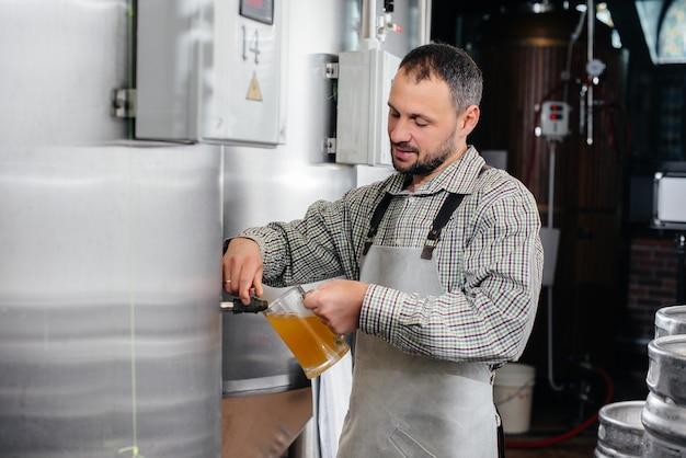 Um jovem cervejeiro barbudo conduz o controle de qualidade da cerveja acabada de fazer na cervejaria.