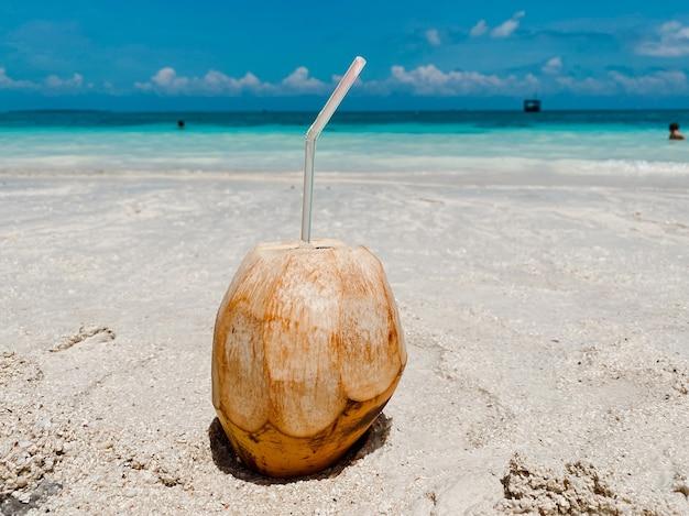 Um jovem coco com um canudo fica na areia branca contra o pano de fundo de oceanos azuis e céu azul. conceito de recreação e turismo.