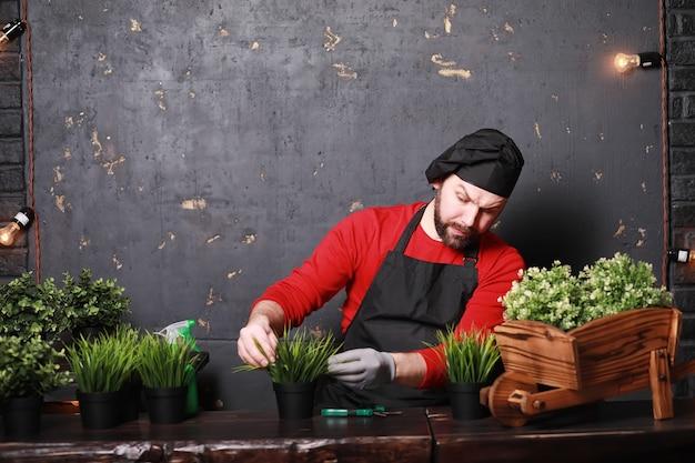 Um jovem jardineiro cuida de mudas e corta flores. jardineiro com uma bandeja de flores. homem que cuida do plantio de mudas na primavera.