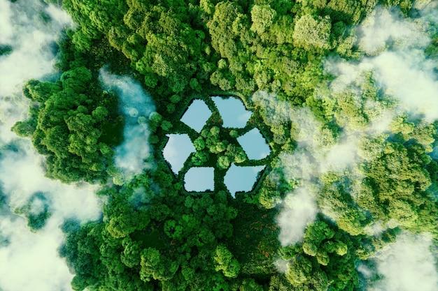 Um lago em forma de placa de reciclagem em meio a uma natureza intocada. uma metáfora ecológica para a gestão de resíduos ecológicos e um estilo de vida sustentável e econômico. renderização 3d.