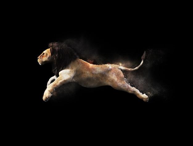 Um leão masculino, movendo-se e pulando com efeito de partículas de poeira em fundo preto