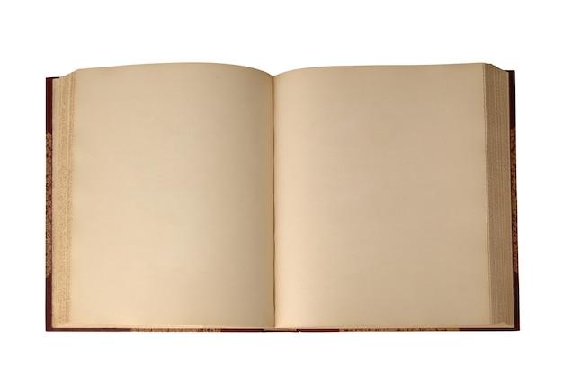 Um livro velho vazio aberto sobre um fundo branco. vista do topo