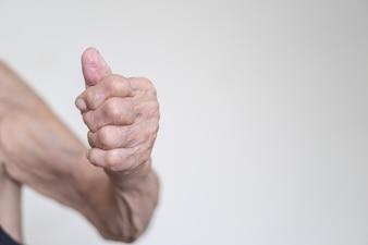 Um, mão, de, 93, anos velho, asian tripulam, com, polegares cima, gesto