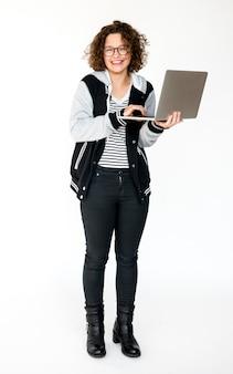 Um, menina estudante, com, laptop