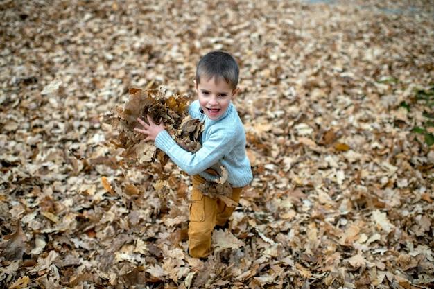 Um menino bonito brincando nas folhas
