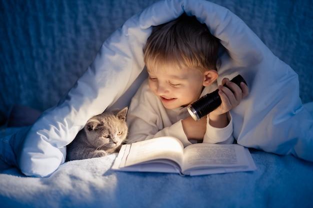 Um menino de 5 a 6 anos está lendo um livro à noite no escuro, debaixo de um cobertor com um gatinho cinza britânico.