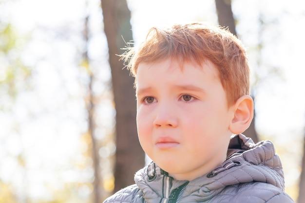 Um menino de cabelos ruivos chorando no parque do outono, um menino ficou chateado durante uma caminhada e teve lágrimas, o rosto de um menino estava coberto de lágrimas