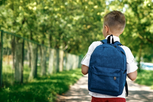 Um, menino, de, um, escola primária, com, um, mochila, rua