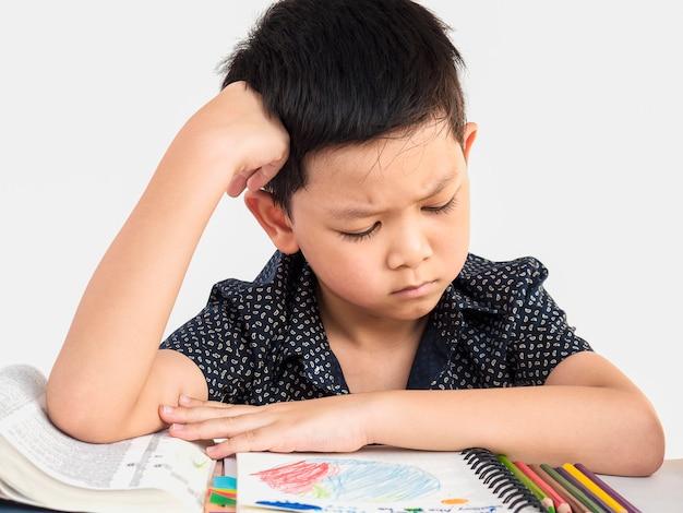 Um, menino, é, infeliz, fazendo, dever casa