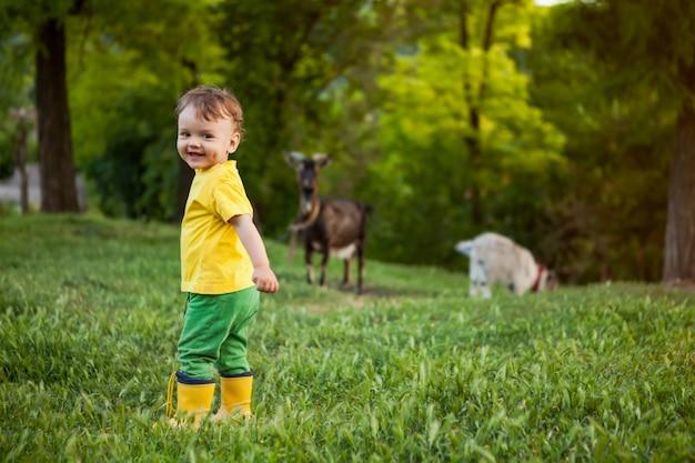 Um menino em roupas brilhantes na natureza, um pequeno pastor com uma cabra