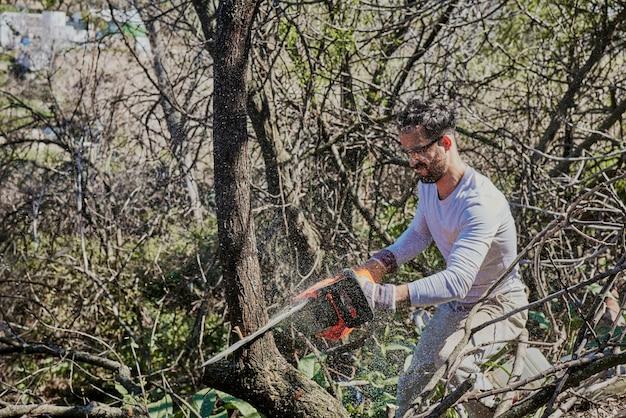Um menino está cortando o tronco de uma árvore com uma serra elétrica.