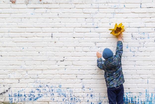 Um menino fica de pé contra uma parede de tijolos e segura folhas nas mãos