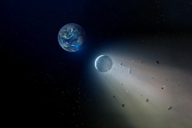 Um meteorito voa para o chão. os elementos desta imagem foram fornecidos pela nasa. para qualquer propósito.