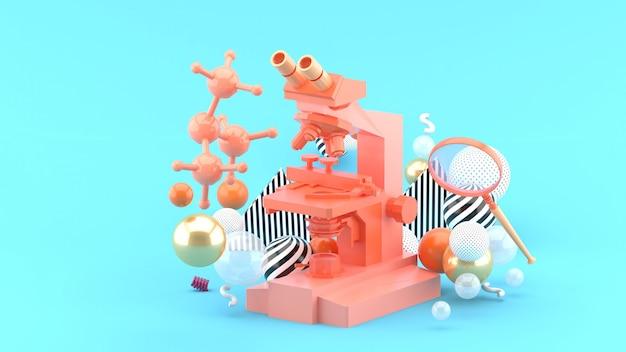 Um microscópio azul entre bolas coloridas no azul. renderização em 3d.