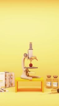 Um microscópio examinando o vírus covid-19 junto com vacinas e medicamentos em renderização 3d de fundo amarelo