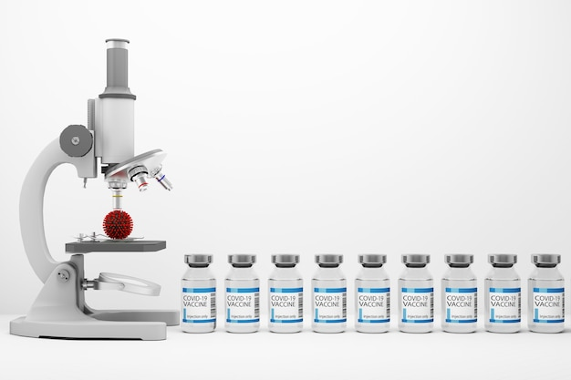 Um microscópio olhando para o vírus covid-19 junto com vacinas e medicamentos em fundo branco renderização 3d