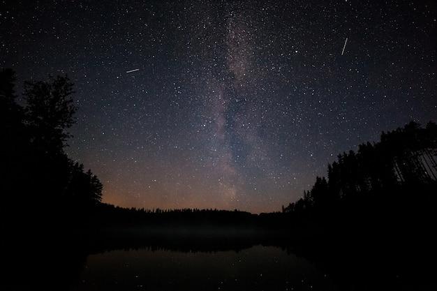Um milhão de estrelas sobre o lago à noite