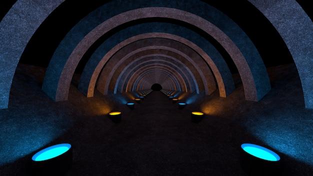 Um modelo de corredor de concreto com iluminação