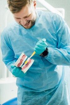Um modelo de uma mandíbula humana com dentes e uma escova de dentes na mão do dentista