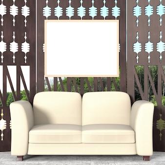 Um moderno deck de madeira com sofá macio branco, vista para a floresta. renderização 3d.