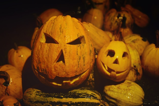 Um monte de abóboras para o halloween, lanterna de jack close-up