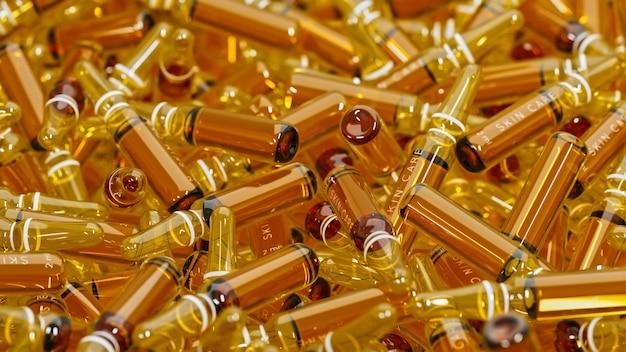 Um monte de ampolas médicas cheias de líquido. close-up em um grupo de frascos espalhados com droga cosmética.
