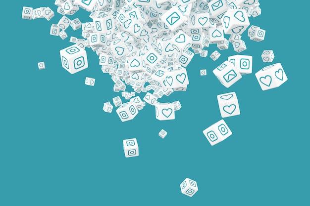 Um monte de blocos caindo com fotos de ícones de ilustração 3d de redes sociais
