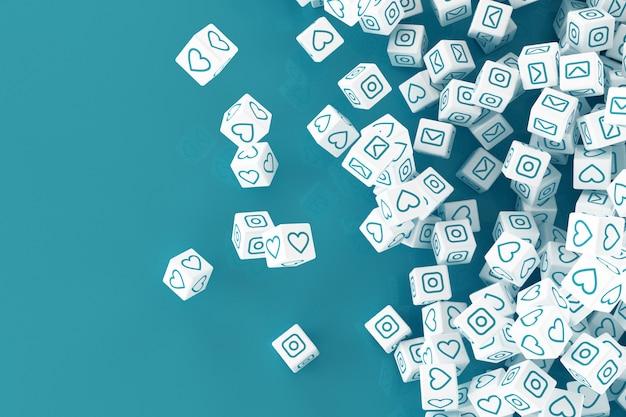 Um monte de blocos caindo com fotos de mídias sociais