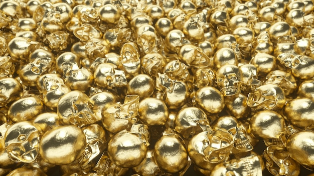 Um monte de caveiras douradas