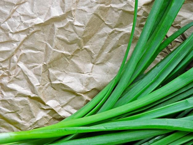 Um monte de cebola verde no papel amassado.