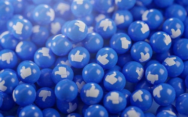Um monte de ícones do polegar para cima. renderização 3d do plano de fundo do conceito de mídia social