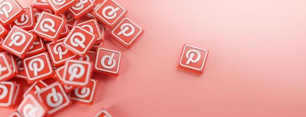 Um monte de logotipos do pinterest em vermelho