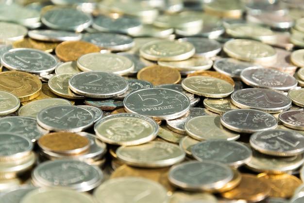 Um monte de moedas russas, close-up