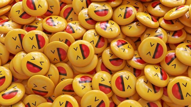 Um monte de pílulas brilhantes de emojis amarelos risonhos