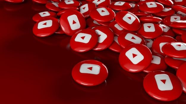 Um monte de pílulas brilhantes do youtube 3d sobre vermelho escuro em uma perspectiva