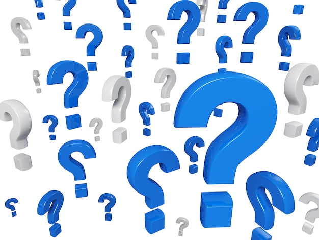 Um monte de ponto de interrogação na cor azul e branca