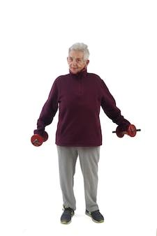 Um, mulher idosa, fazendo, dumbbells, branco, fundo
