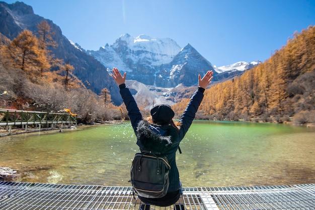 Um, mulher, sucesso, hiking, em, pico montanha neve, em, outono, pessoas, viajando, conceito