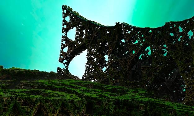 Um mundo estranho com colunas de metal poroso que se cruzam contra um fundo de névoa verde. renderização 3d