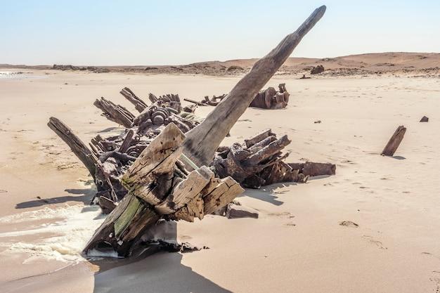 Um naufrágio no parque nacional da costa de esqueleto na namíbia na áfrica.