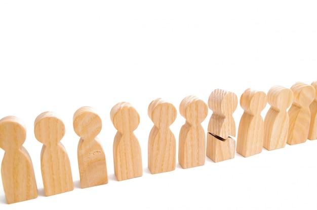 Um número de suas figuras de pessoas. o conceito de um elo fraco.