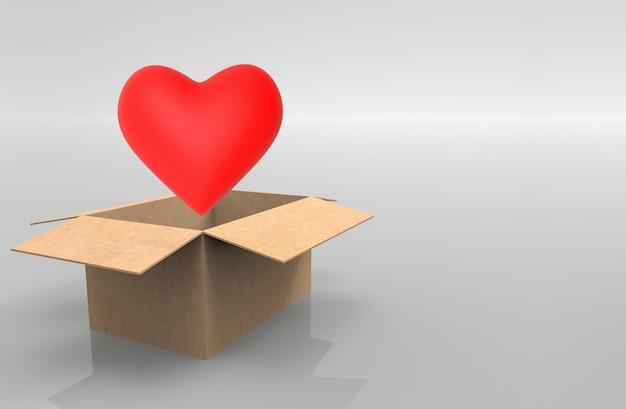 Um objeto vermelho da forma do coração ejeta da caixa marrom de papel aberta no fundo cinzento.
