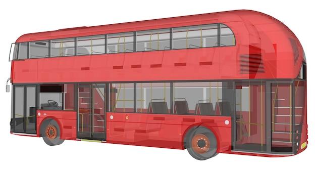 Um ônibus de dois andares, uma caixa translúcida sob a qual muitos elementos internos e partes internas do ônibus são visíveis. renderização 3d.