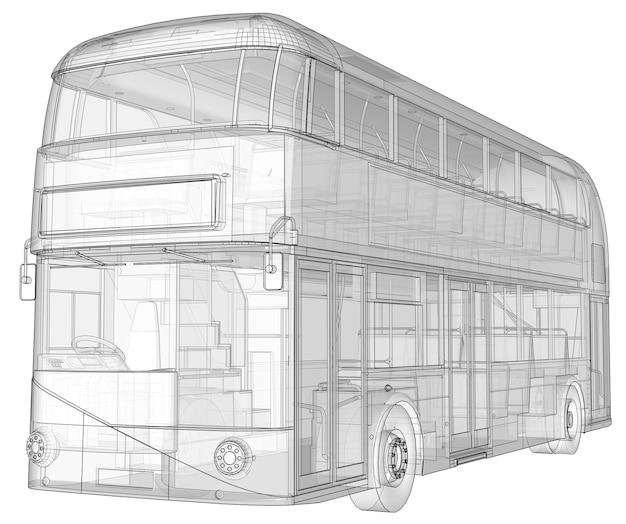 Um ônibus de dois andares, uma caixa translúcida sob a qual muitos elementos internos e peças internas do ônibus são visíveis. renderização 3d.
