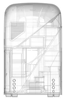 Um ônibus de dois andares, uma caixa translúcida sob a qual muitos elementos internos e peças internas do ônibus são visíveis. vista traseira. renderização 3d.