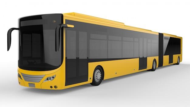 Um ônibus urbano grande com uma peça alongada adicional para grande capacidade de passageiros durante a hora do rush ou transporte